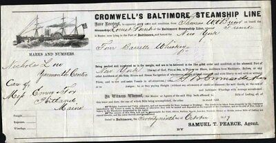 Cromwell's Baltimore Steamship Line, Bill Of Lading, 1859, 4 Barrells Whiskey