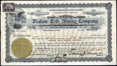 Diadem Gold Mining Co, Sumpter, Oregon, 1900, Uncancelled Stock Certificate