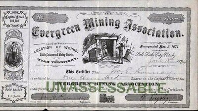 Evergreen Mining Association, 1894, Little Cottonwood Mining Dist. Utah Territor