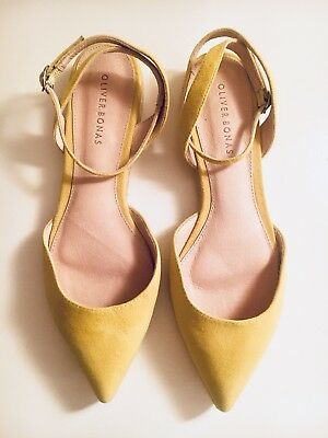 Oliver Bonas Yellow Suede Pointed Espadrilles rrp£49.50 UK7 EU38/UK 5