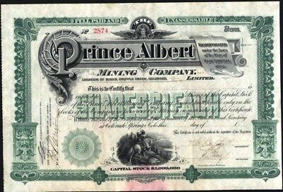 Prince Albert Mining Co, Cripple Creek, Co., Stock Certificate