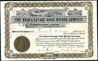 Requa = Savage Gold Mining Co, 1905, Cripple Creek, Co., Uncancelled Stock Cft.