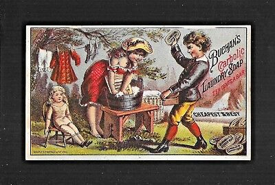 Lady In Low Cut Dress Washes Clothes On Washboard-Victorian Trade Card
