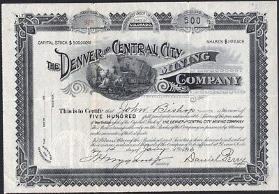 Denver And Central City Mining Co, 1896, Uncancelled Stock Certificate