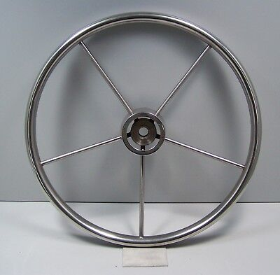 "Vintage Stainless Steel Authentic 16"" Five Spoke Sailboat Ship Helm Wheel NICE!"