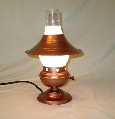 Vintage Hammered Copper Electric Lantern Table Lamp New Cord And