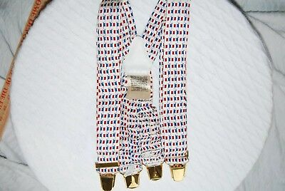 HERMES 100% Silk & Leather Suspenders French Flag Design Made In France 38