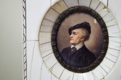 Masterful Antique Miniature Portrait SIGNED ~ Gentleman In a Hat ~ IVORY FRAME