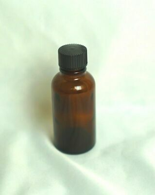 Qty. 8 1 Oz. Amber Boston Round Glass Bottles WIth Black Lid NEW