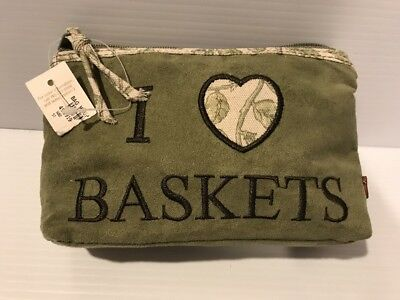 Longaberger MAKEUP Zippered Bag GREEN SUEDE I LOVE HEART BASKETS NEW W TAG