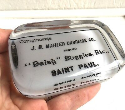 Antique Vtg Glass St Paul MN Advertising Carriage & Buggy Paperweight Daisy Sign