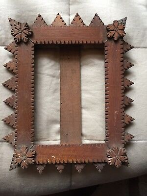 Antique Small Wooden Handmade Tramp Art Photo Picture Frame With