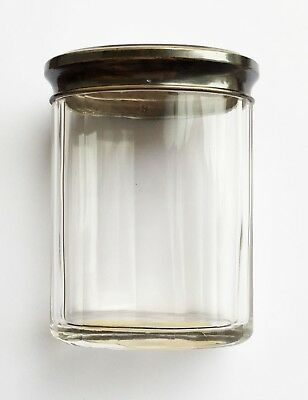 Antique French Sterling Silver Top and Cut Glass Jar Export Mark 1884