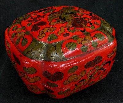 CHINESE ANTIQUE LACQUER BOX *LOBED* VERMILION RED w FOO DOG 19th CENTURY