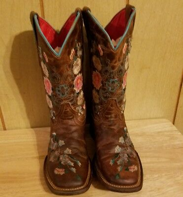 Girls Macie Bean Honey Bunch Boots, Style M9012 with square toe flowers size 1