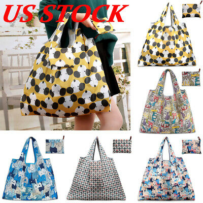 USA Foldable Handy Shopping Bag Reusable Tote Pouch Recycle Storage Handbags