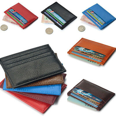US Mens Womens Girls Leather Small ID Credit Card Wallet Holder Slim Pocket Case
