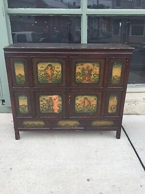 Antique Wood Painted Buddha Asian Chinese Paint Decorated Chest Cabinet Cupboard