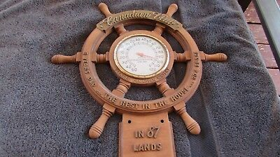 Vintage 1950's Canadian Club Whisky Advertising Ship's Wheel Design Thermometer