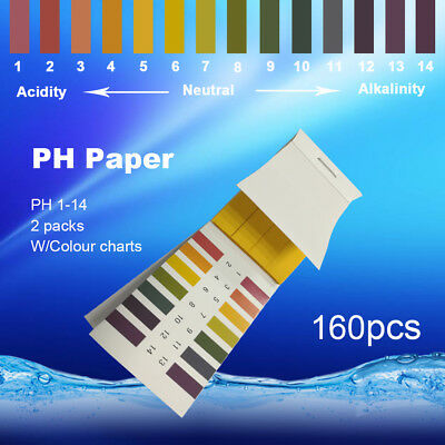 160pc PH Test Strips Litmus Paper Urine Saliva Acid Alkaline Liquid Spa Lab Pool
