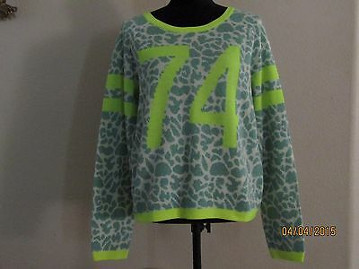 e1ccbc8db12e JUICY COUTURE WOMENS Sweater Green & Yellow Leopard Pullover XL ...