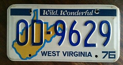 1976 West Virginia Passenger License Plate #OD-9629 W VA Wild Wonderful Mountain