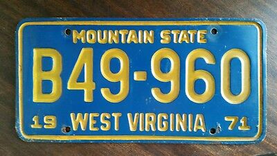 1971 West Virginia ~ Mountain State ~ TRUCK Plate # B49-960  W VA WVU Marshall