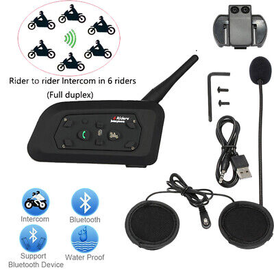 BT V6 1200m Bluetooth Motorcycle Biker Helmet Intercom Interphone Headset