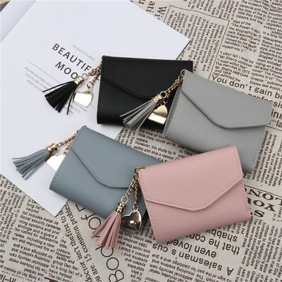 New Women Pure Color Card Holder Wallet Button Small Mini Purse bag For Girls