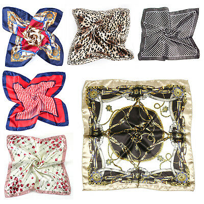 Fashion Women Square Satin Silk Scarf Scarves Bandanas Head Wrap Shawl