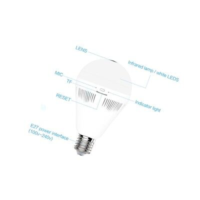 Panorama 3D 960P Bulb Camera Built-in WIFI lighting IR two function Micro-SD