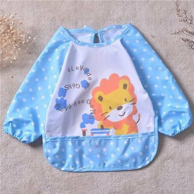 Cute Waterproof Long Sleeved Bib Baby Feeding Painting Clothes Apron Child new