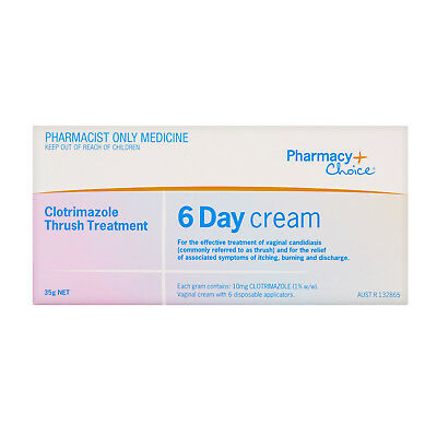 Pharmacy Choice Clotrimazole Thrush 6 Day Cream Yeast Infection Treatment 35g