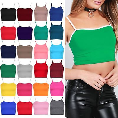 Ladies Womens Sleeveless Camisole Contrast Strappy Plain Bralet Vest Cropped Top