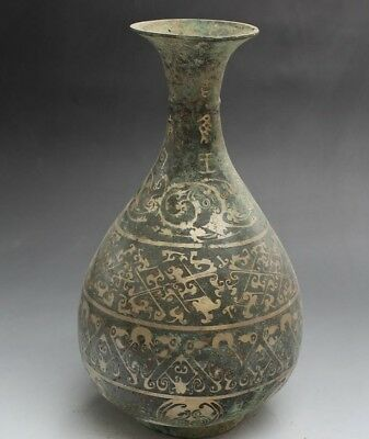 "12""  Chinese Old Antique Bronze gold-plated vase decoration Furnishing"