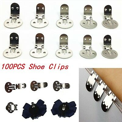 100X Blank Stainless Steel Brooch Shoe Clips Clip Findings Wedding Craft Buckles