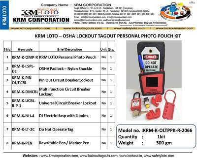 Krm Loto - Osha Lockout Tagout Personal Photo Pouch Kit