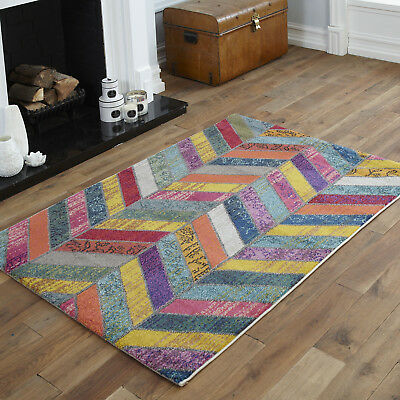 Modern Small - Extra Large Wave Multi Coloured Clearance Rugs Sale By Colours