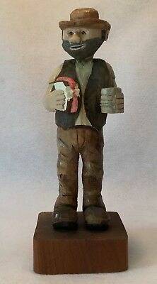 """ESTATE Hand Carved & Hand Painted Solid Wood HIPSTER HOBO Figurine - 10.5"""" High"""