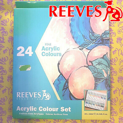 Reeves fine acrylic colours set 24, 12ml new paint craft art water color