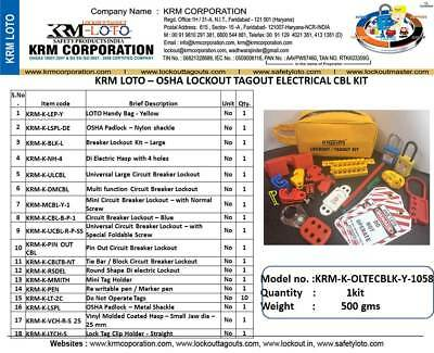 Krm Loto - Osha Lockout Tagout Electrical Cbl Kit