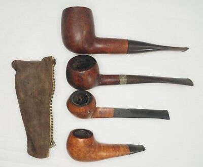 Lot of (4) Vintage Golden Parker Drucquer Davis Lloyd Compact Wood Tobacco Pipes