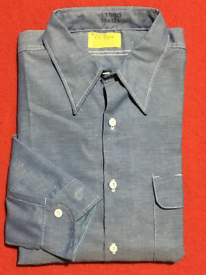 2513142e897 Vintage Big Yank Blue Chambray Workshirt Cotton Poly Union Made In Usa X  Large