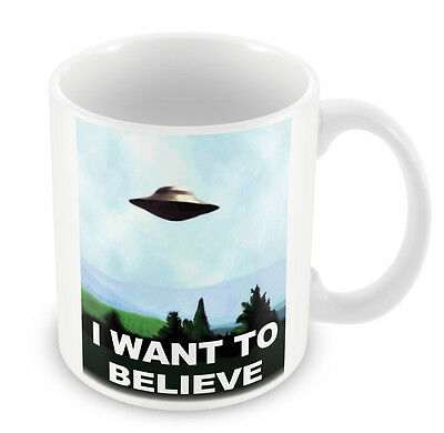 I WANT TO BELIEVE Mug - X Files TV Gift Idea Aliens coffee cup party work 97
