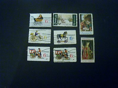 8 Different United States Christmas Postage 6 Cent Stamp Lot