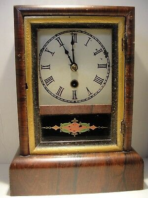 Vintage Jerome & Co. Brass Clock Eight And One Day, Key Wind