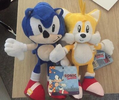 "9"" Sonic And Tails Plush Soft Toy Sonic The Hedgehog Bnwt"