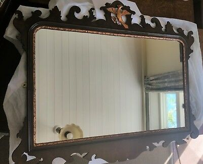 Large Antique Georgian Style  Overmantle Wall Mirror Mahogany.