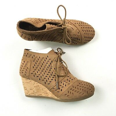 541405a9221e TOMS WOMENS PERFORATED Toffee Suede Leather Wedges Booties Size 6 B06 -   39.99