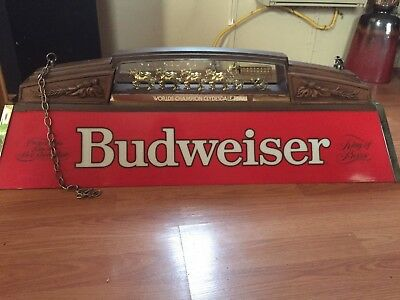 VINTAGE BUDWEISER POOL Table Light With World Championship - Budweiser clydesdale pool table light